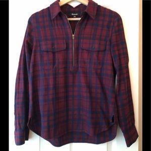 Madewell maroon & navy flannel